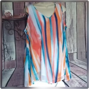 Turquoise and salmon sleeveless top